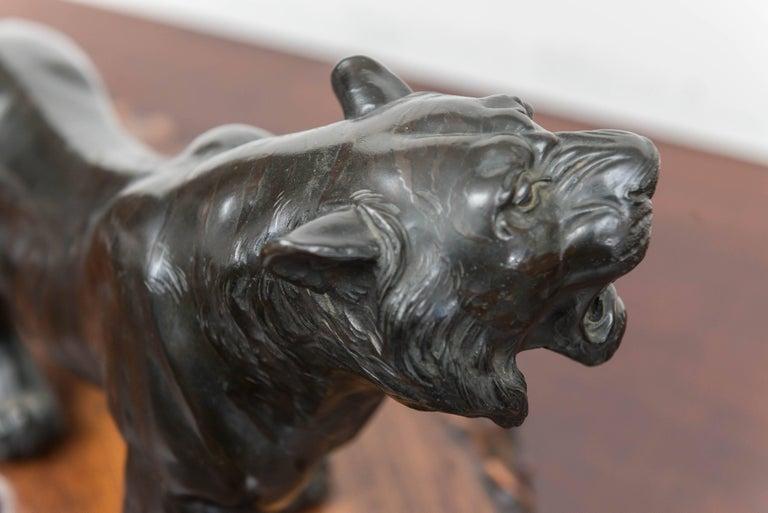 Large Bronze Japanese Meiji Period Tiger on a Natural Carved Wood Base For Sale 2