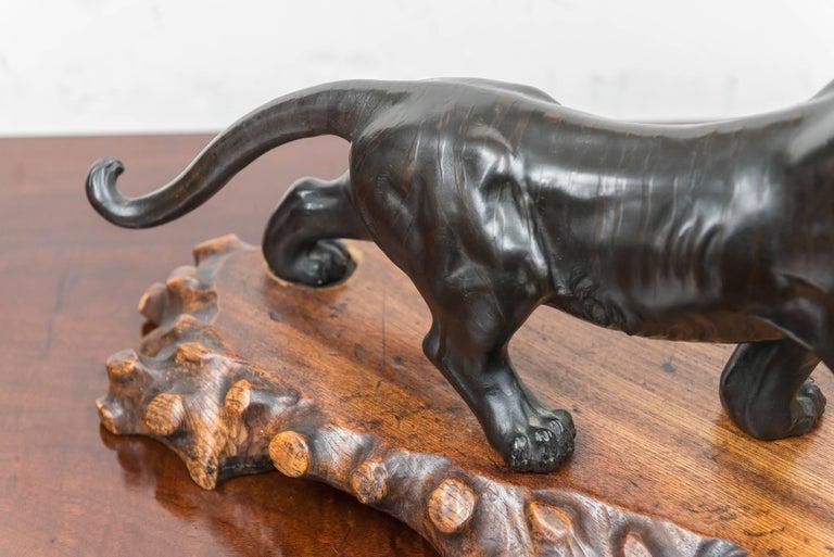 Large Bronze Japanese Meiji Period Tiger on a Natural Carved Wood Base For Sale 3