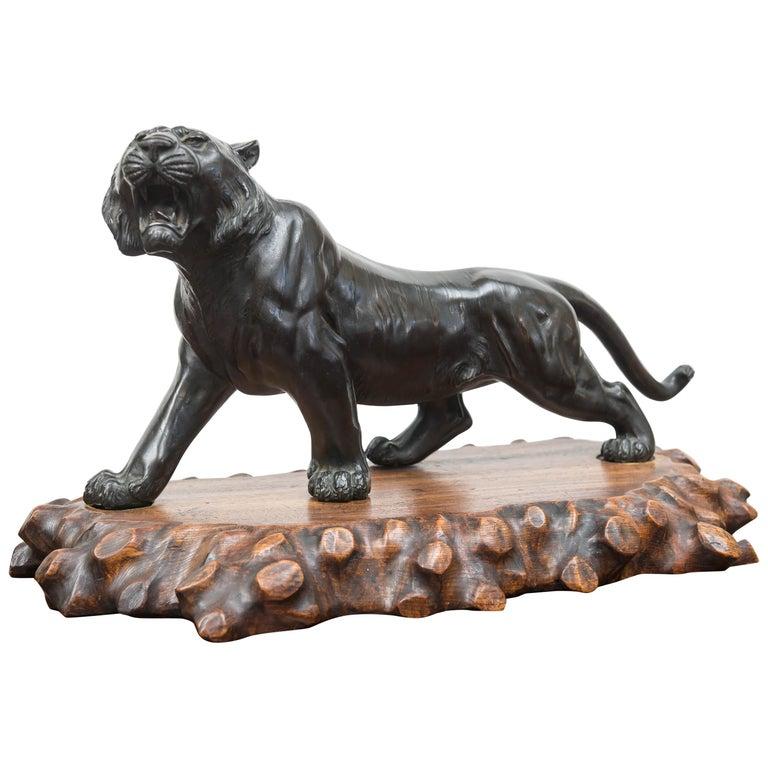Large Bronze Japanese Meiji Period Tiger on a Natural Carved Wood Base For Sale
