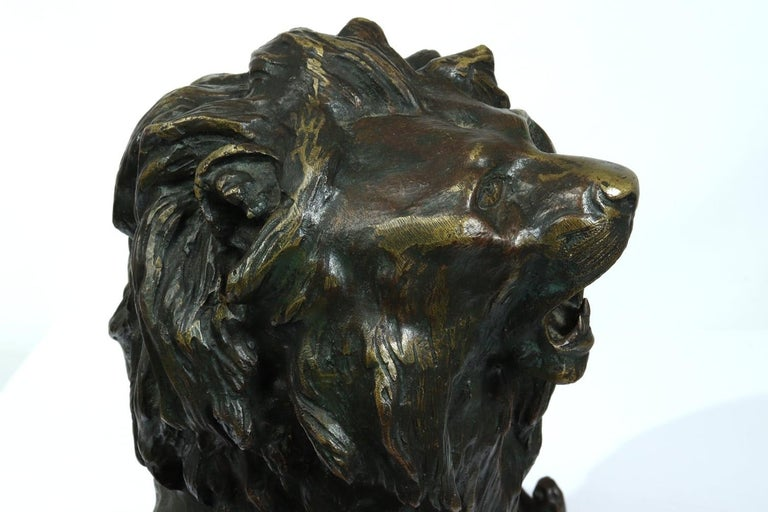 Large Bronze Lion on a Rock by Cartier, circa 1920 For Sale 5