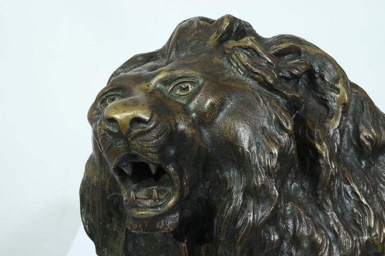 Other Large Bronze Lion on a Rock by Cartier, circa 1920 For Sale