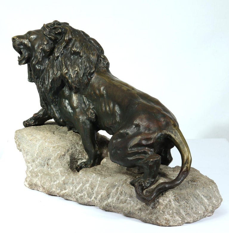 Early 20th Century Large Bronze Lion on a Rock by Cartier, circa 1920 For Sale