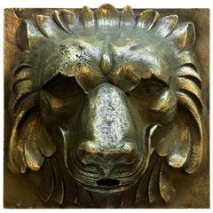 Large, Bronze Lionhead Spout Cover