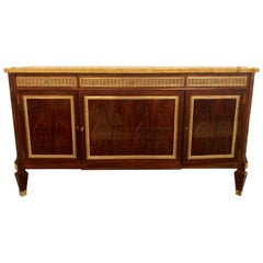 Large Bronze Mounted Jansen Style Flame Mahogany Marble Top Sideboard, Buffet