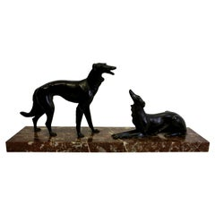 Large Bronze of Two Hunting Dogs