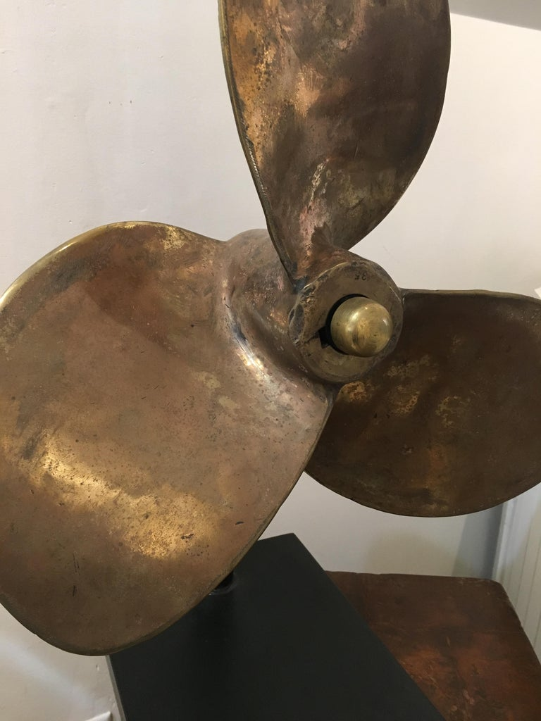 20th Century Large Bronze Propeller on Custom Stand For Sale