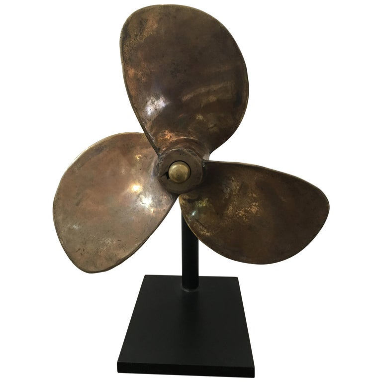 Large Bronze Propeller on Custom Stand For Sale