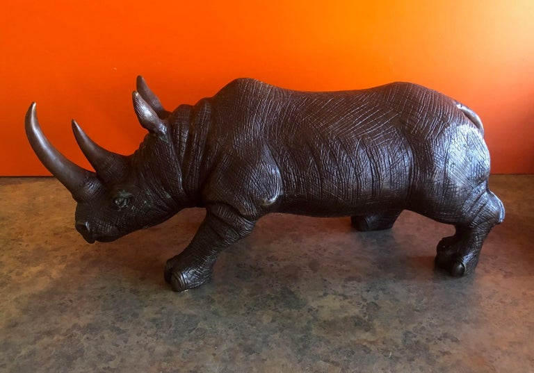 Large Bronze Rhinoceros / Rhino Sculpture In Good Condition In San Diego, CA