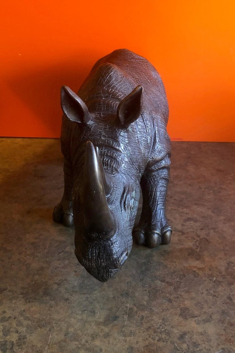 20th Century Large Bronze Rhinoceros / Rhino Sculpture