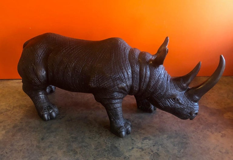 Large Bronze Rhinoceros / Rhino Sculpture 1