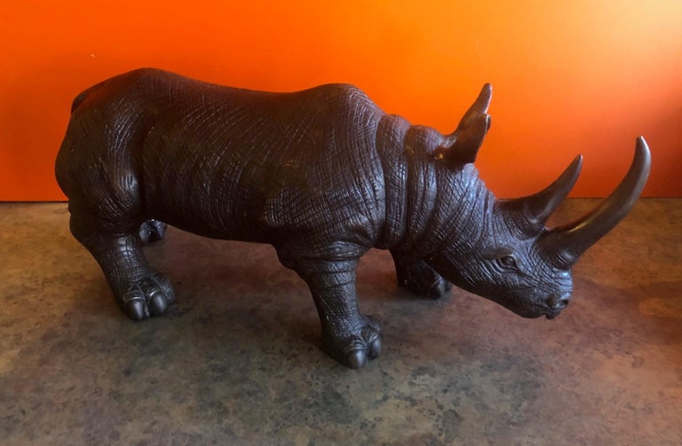 Large Bronze Rhinoceros / Rhino Sculpture 2