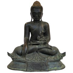 Large Bronze Sculpture of Seated Buddha, Burma
