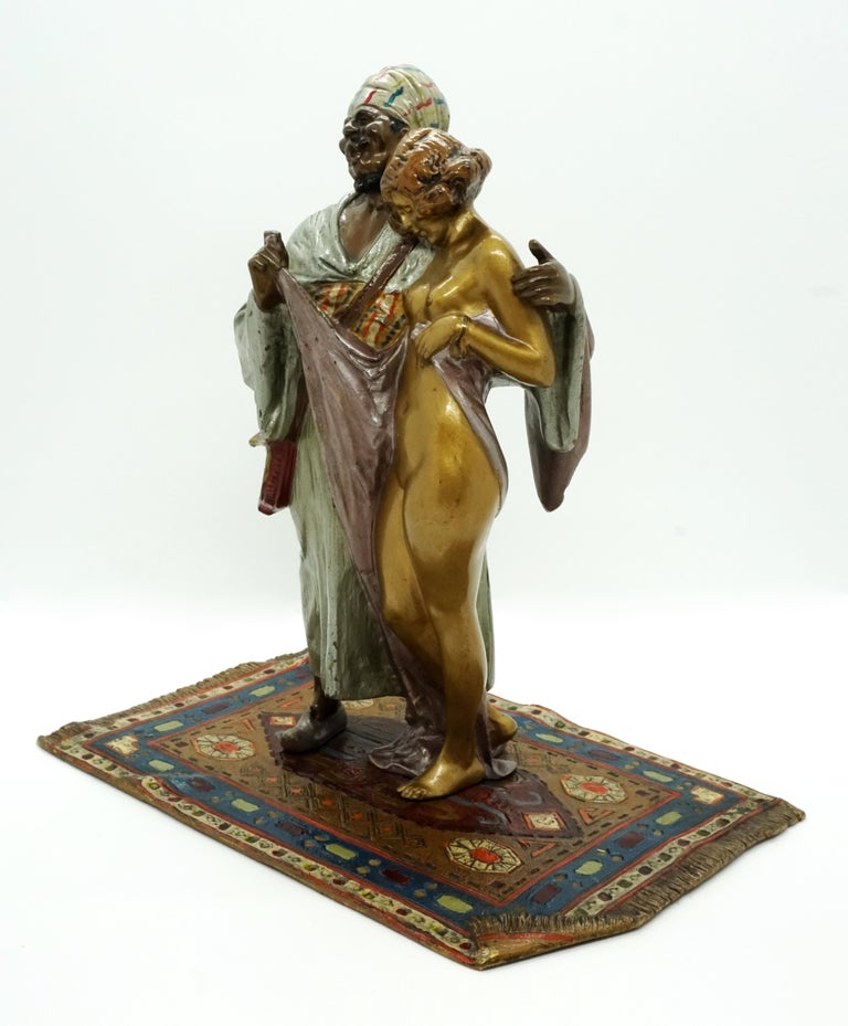 Other Large Bronze Slave Trader with Girl by Bruno Zach & Bergmann, Vienna, circa 1930 For Sale