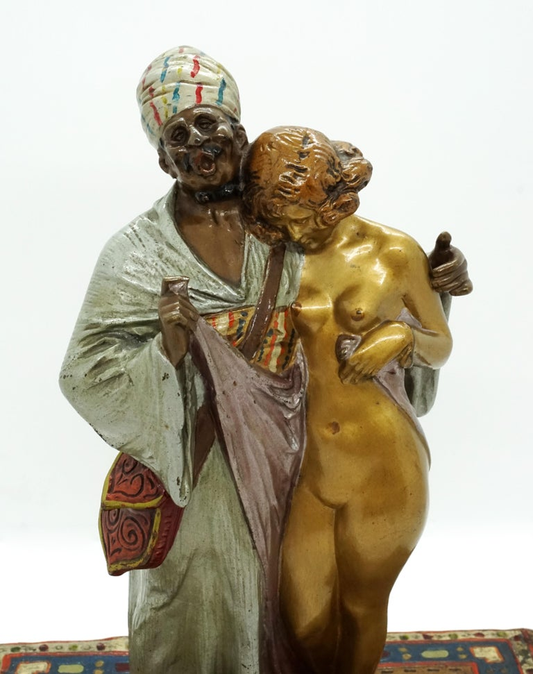 Patinated Large Bronze Slave Trader with Girl by Bruno Zach & Bergmann, Vienna, circa 1930 For Sale