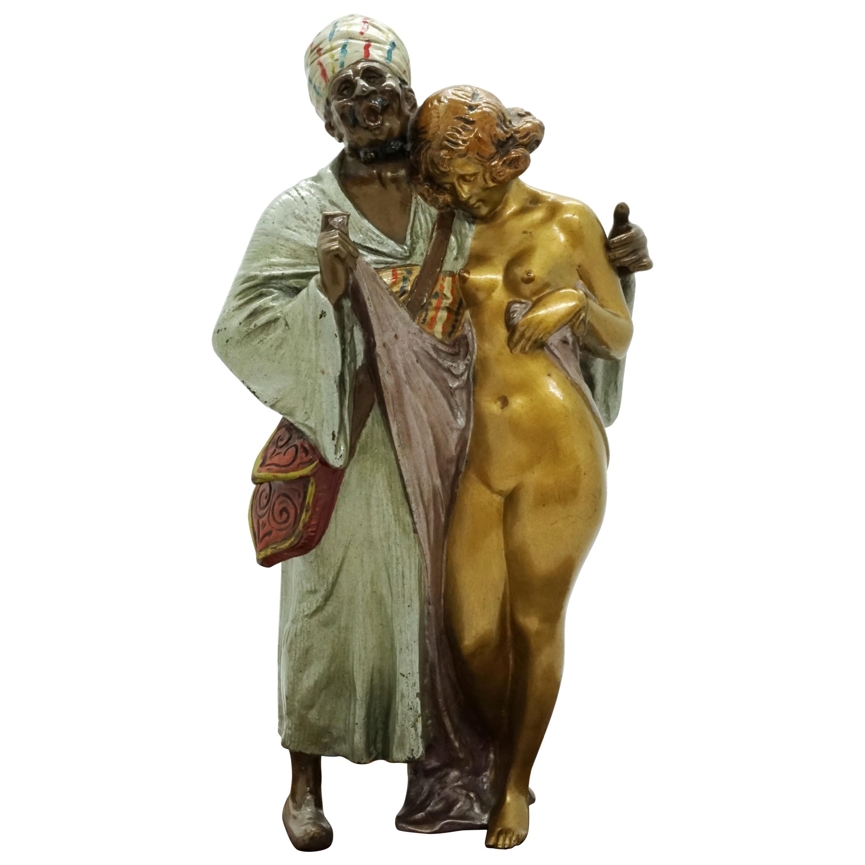 Large Bronze Slave Trader with Girl by Bruno Zach & Bergmann, Vienna, circa 1930