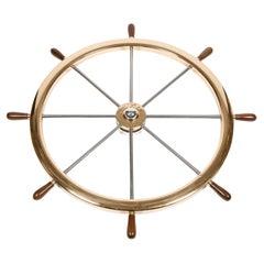 Large Bronze & Steel Ship's Wheel on Rotating Wall Mount