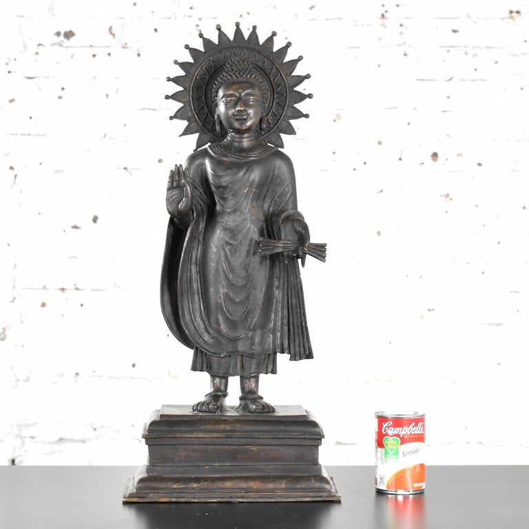 Large Bronze Tibetan Standing Buddha Sculpture with Halo Patinated For Sale 8