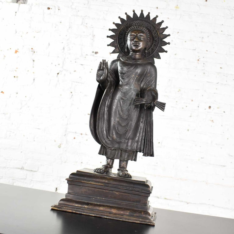 Large Bronze Tibetan Standing Buddha Sculpture with Halo Patinated For Sale 1