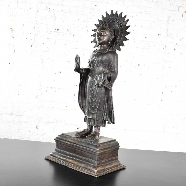 Large Bronze Tibetan Standing Buddha Sculpture with Halo Patinated For Sale 4