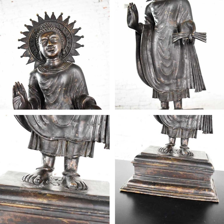 Large Bronze Tibetan Standing Buddha Sculpture with Halo Patinated For Sale 5