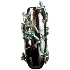 Large Bronze Vase with 8 Green Geckos