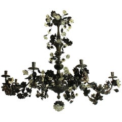Large Bronzed Chandelier with an Abundance of Leaves and Flowers