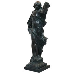 Large Bronzed Metal Classical Woman Sculpture, Signed, Dated 1983