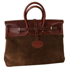 Large Brooks Brothers Suede Overnight Leather Bag