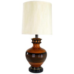 Large Brown and Black Mid-Century Modern Bulbous Ceramic Lamp