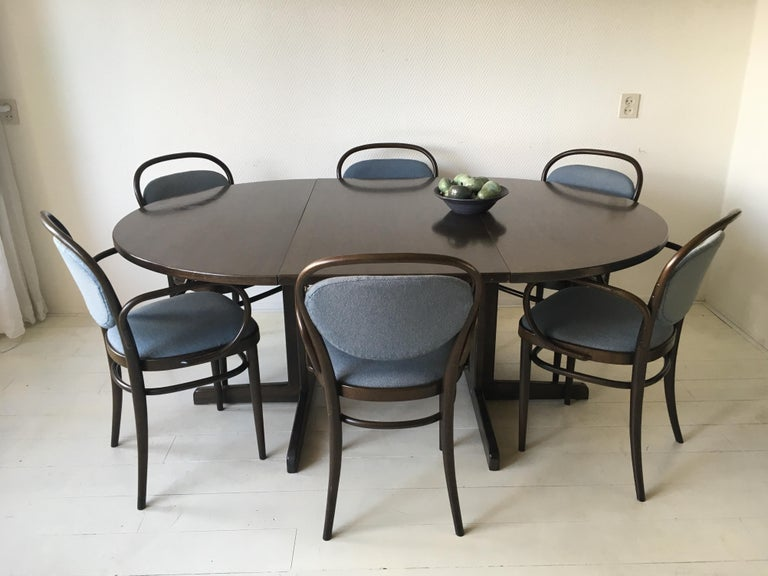 Large Brown and Blue Dining Room Set with Extendable Table, Thonet, circa  1980s