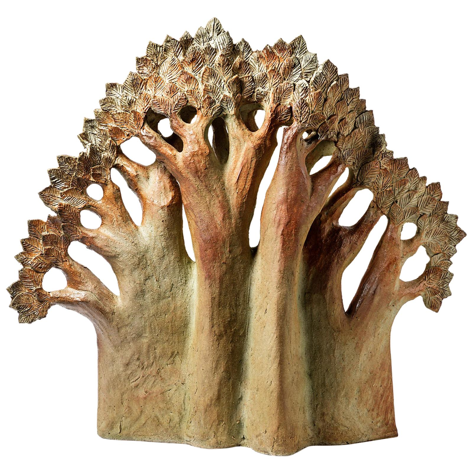 Large Brown and Colored Stoneware Ceramic Tree Sculpture Claude Gaget