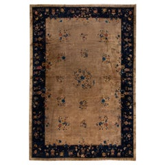 Large Brown Antique Chinese Art Deco Wool Rug