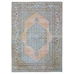 Large Brown Antique Persian Tabriz Rug