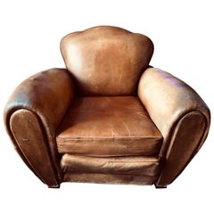 Large Brown Cognac Club Armchair Original Used Leather Condition