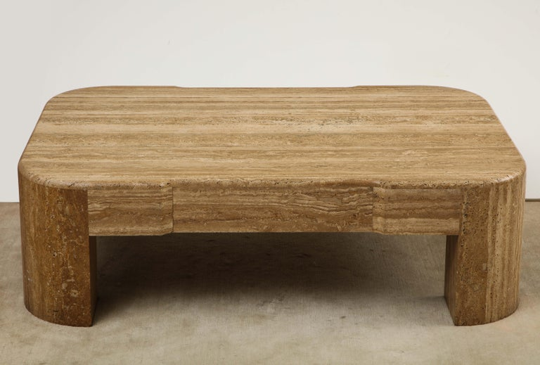 Large brown heavy travertine coffee table, 1970s-1980s.