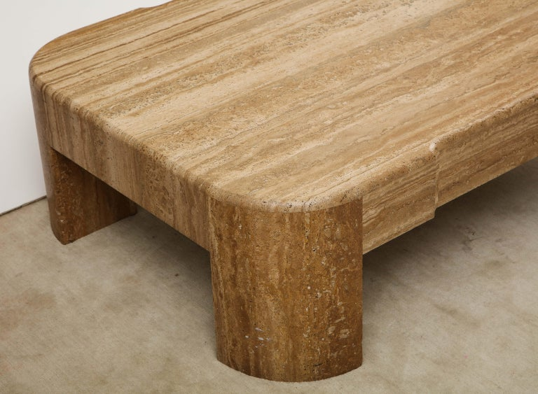 Mid-Century Modern Large Brown Heavy Travertine Coffee Table, 1970s-1980s For Sale