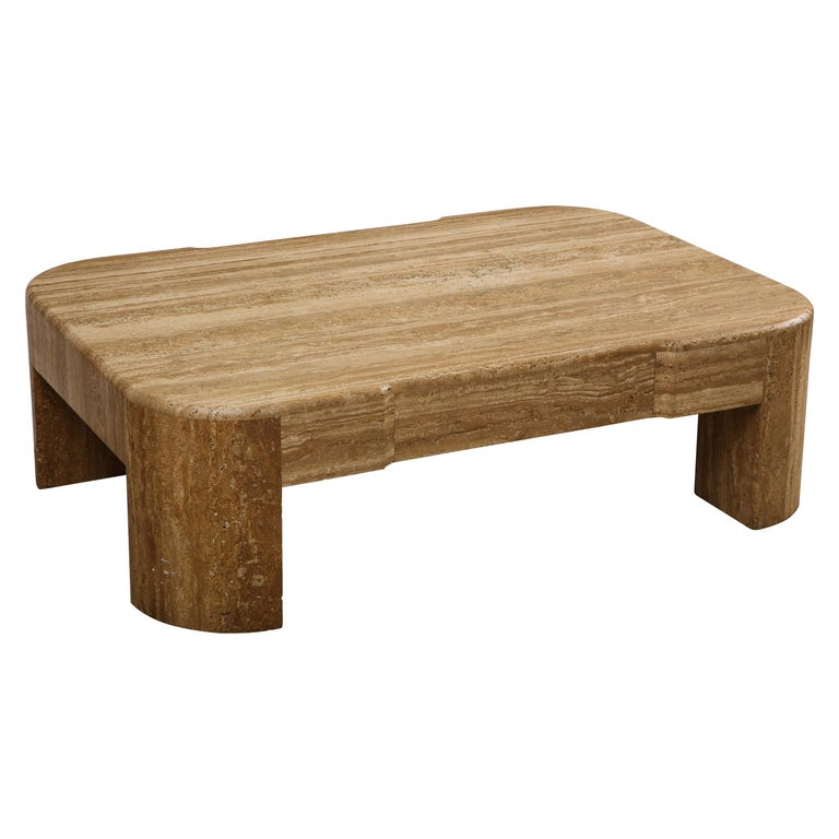Large Brown Heavy Travertine Coffee Table, 1970s-1980s For Sale