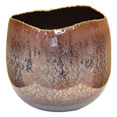 Large Brown Platinum Hand-Glazed Porcelain Vase by Japanese Master Artist