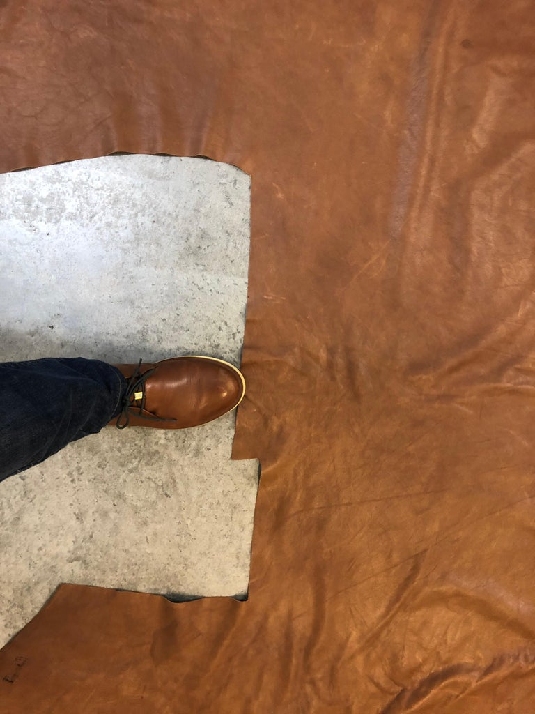 Large Brown Soft Leather Cowhide In Good Condition For Sale In Oakland Park, FL
