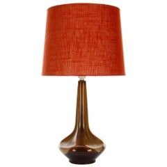 Large Brown Table Lamp by Einar Johansen for Soholm 1960s, with Vintage Shade