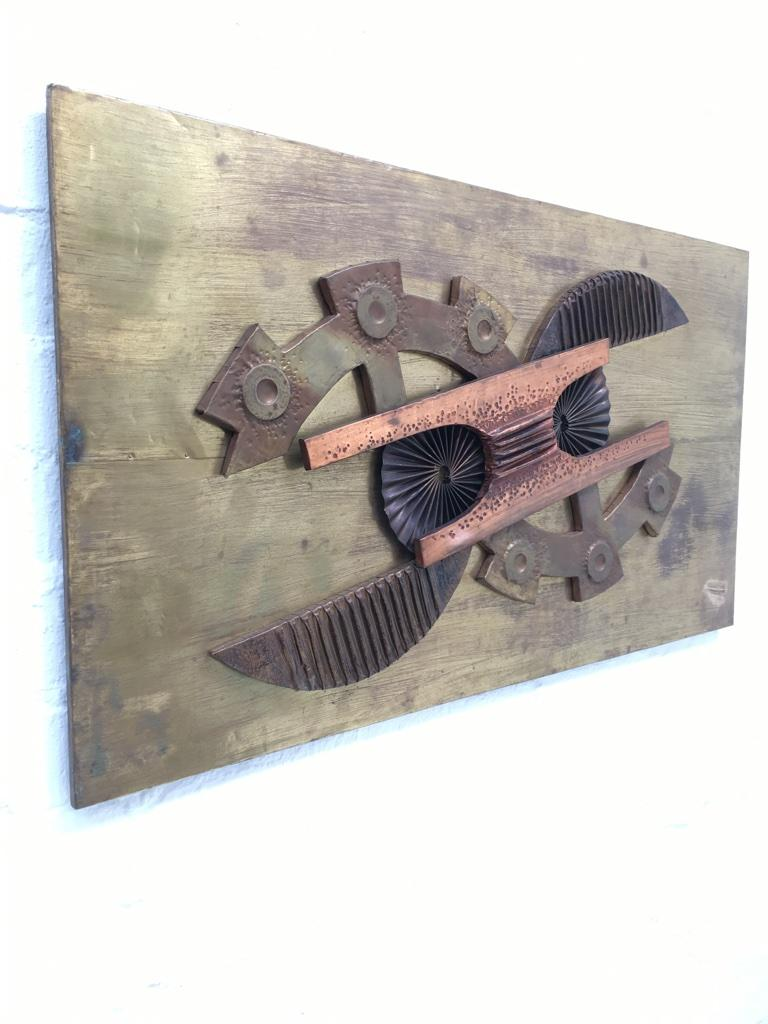 Large Brutalist Abstract Wall Sculpture Brass and Copper Stephen Chun, 1970s For Sale 4