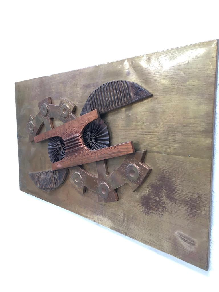 Appliqué Large Brutalist Abstract Wall Sculpture Brass and Copper Stephen Chun, 1970s For Sale