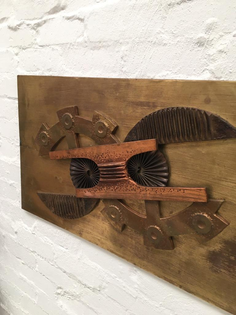 Large Brutalist Abstract Wall Sculpture Brass and Copper Stephen Chun, 1970s For Sale 1