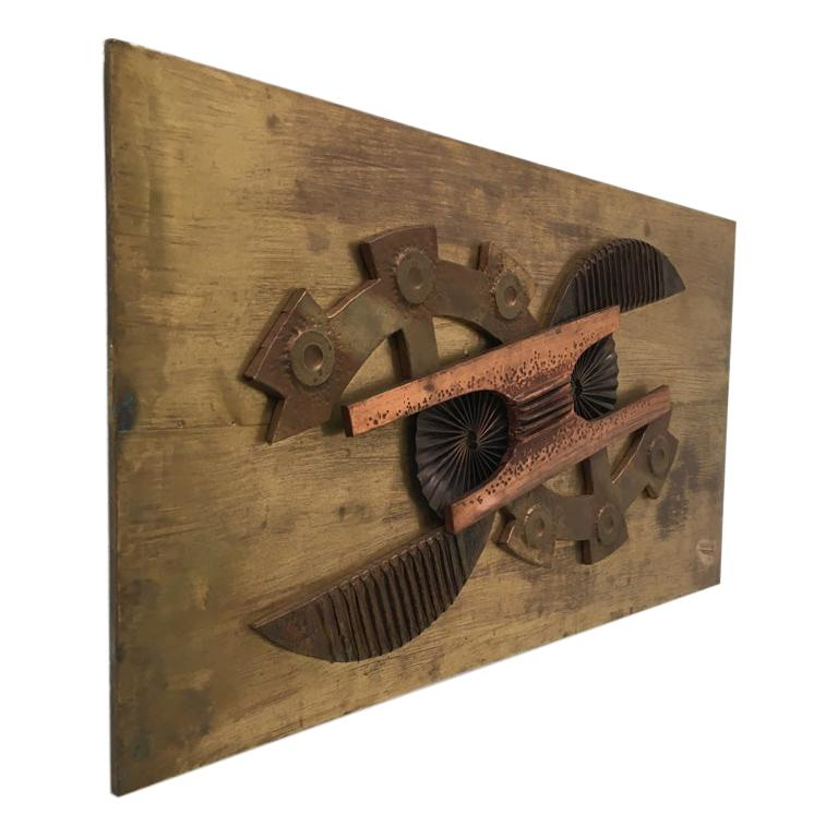 Large Brutalist Abstract Wall Sculpture Brass and Copper Stephen Chun, 1970s For Sale