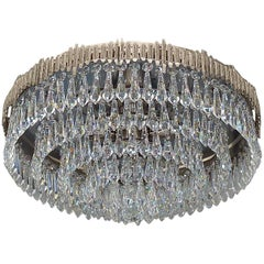 Large Brutalist Bakalowits Flush Mount Chandelier Crystal Glass Chrome Metal