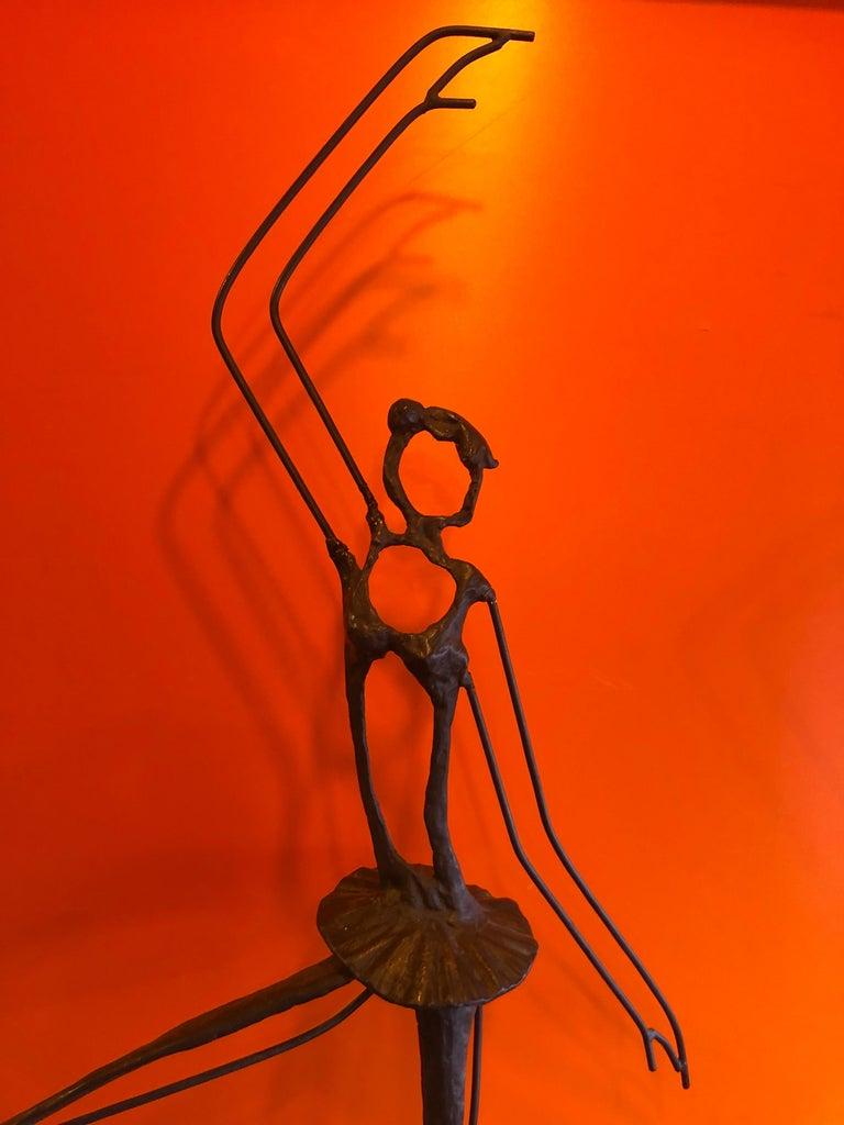 Large Brutalist Bronze Ballerina Sculpture on Marble Base For Sale 6