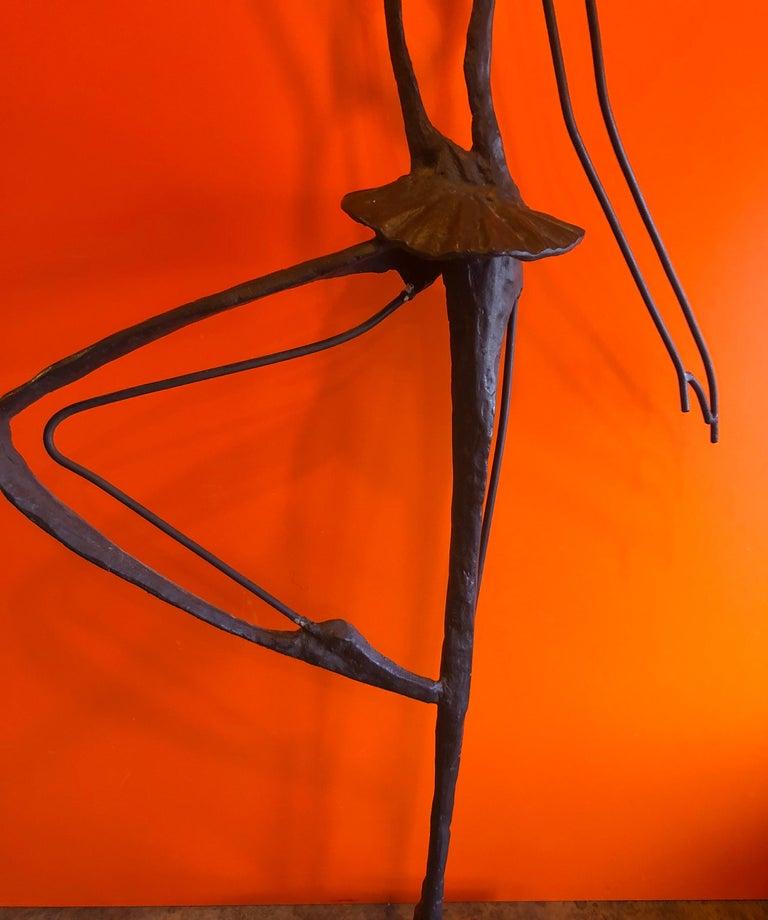 Large Brutalist Bronze Ballerina Sculpture on Marble Base For Sale 7