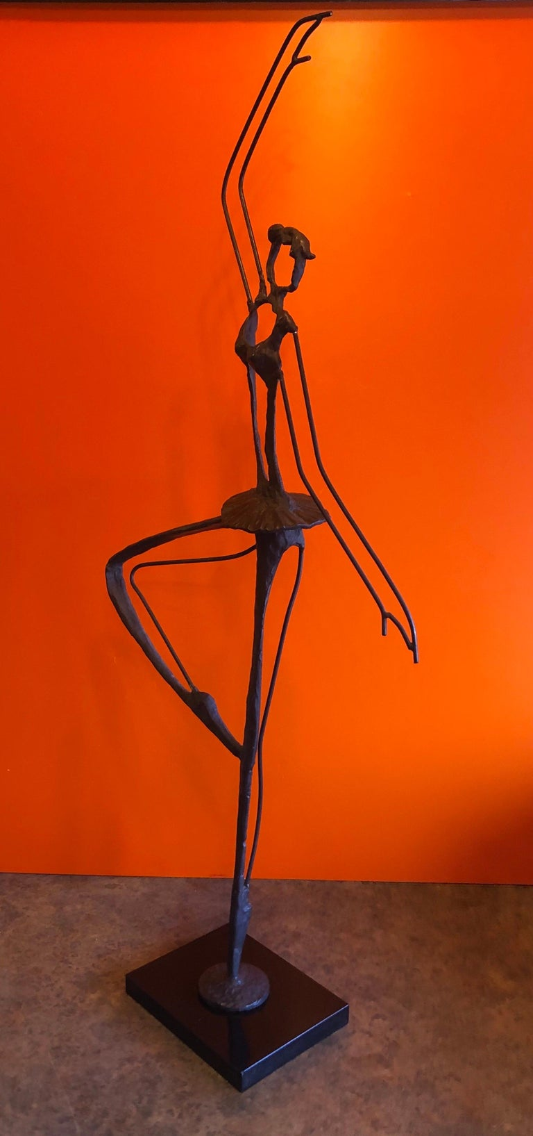 Large Brutalist Bronze Ballerina Sculpture on Marble Base In Good Condition For Sale In San Diego, CA