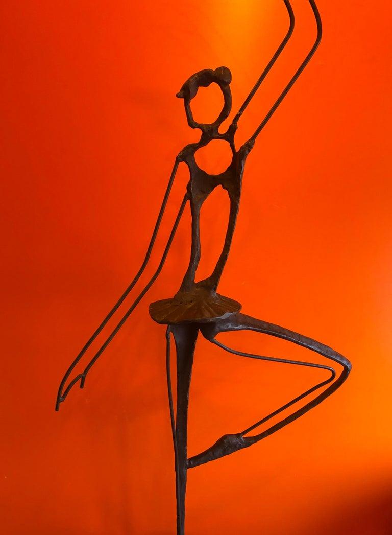 Large Brutalist Bronze Ballerina Sculpture on Marble Base For Sale 2