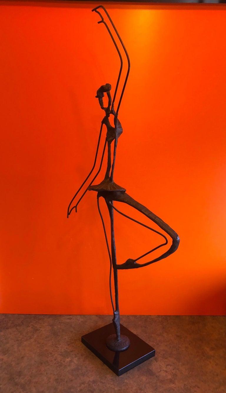 Large Brutalist Bronze Ballerina Sculpture on Marble Base For Sale 4